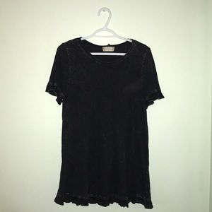 Altar'd State Black Marble Blouse with Ruffles